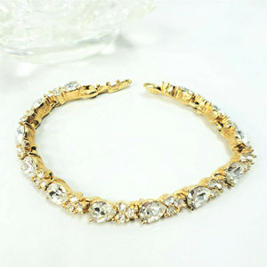 Monet Gold Tone Tennis Bracelet Tear Drop Crystals